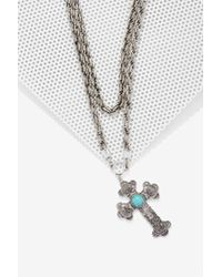 Nasty Gal - Metallic Cross My Mind Chain Necklace - Lyst