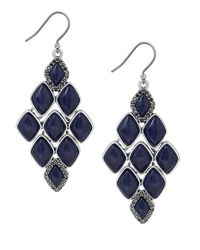 Lucky Brand | Metallic Lapis Stone Chandelier Earrings | Lyst