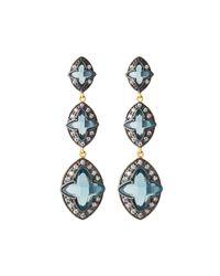 Freida Rothman - Blue Graduated Cz Dangle Earrings - Lyst