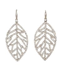 Bavna | Metallic Sterling Silver Earrings With Pave & Champagne Rose Cut Diamonds | Lyst