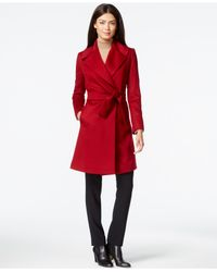 Trina Turk | Red Violet Asymmetrical Pleated Peacoat | Lyst