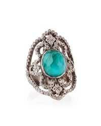 Armenta | Green New World Scroll Ring With Malachite/blue Topaz & Diamonds for Men | Lyst