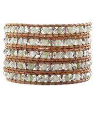 Chan Luu | Green Labradorite and Crystal Satin Wrap Bracelet On Natural Brown Leather | Lyst