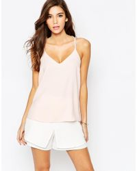 ASOS - Pink Plunge Neck Strappy Cami Top - Lyst