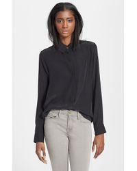 98ebbfa9aa6feb Lyst - FRAME  le Classic  Washed Silk Charmeuse Shirt in Black
