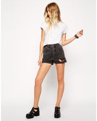 ASOS - Gray Denim High Waist Mom Shorts In Washed Black With Rips - Lyst