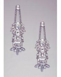 Bebe - Metallic Floral Crystal Earrings - Lyst