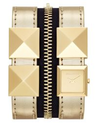 Karl Lagerfeld - Womens Goldtone Stainless Steel Stud And Metallic Gold Leather Double Strap Watch 18mm - Lyst