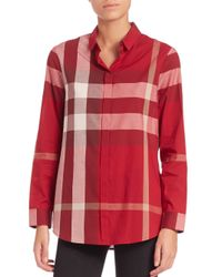 Burberry | Pink Check-print Blouse | Lyst