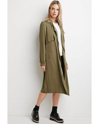 Forever 21 | Green Life In Progress Open-front Trench Coat | Lyst