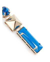 Valentino - Blue Stud Strass Earrings - Lyst