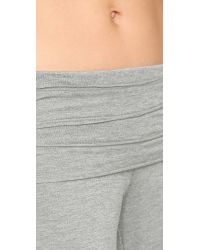 Splendid - Gray Fold Over Pants - Marled Heather - Lyst