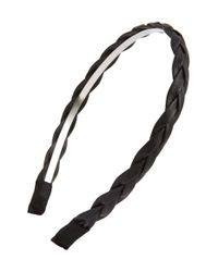Cara - Black Braided Faux Leather Headband - Lyst