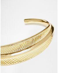 ASOS - Metallic Etched Leaf Cuff Bracelet - Lyst
