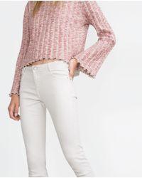Zara | White Cropped Jeans | Lyst