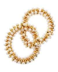 Kenneth Jay Lane | Metallic Stretchy Pearl-tip Bracelet | Lyst