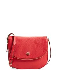 Tory Burch | Red 'robinson' Pebbled Leather Shoulder Bag | Lyst