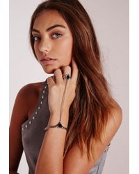 Missguided | Metallic Stone Gem Hand Harness Silver | Lyst