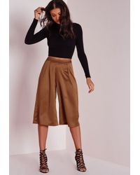 Missguided | Natural Satin Feel Culottes Camel | Lyst