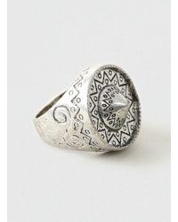TOPMAN - Metallic Oversized Engraved Ring* for Men - Lyst