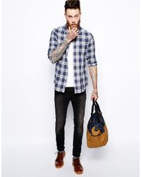ASOS - Linen Mix Shirt In Long Sleeve With Blue And White Check for Men - Lyst