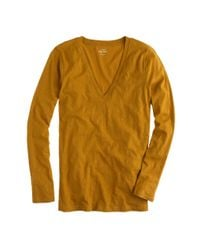 J.Crew | Orange Vintage Cotton Long-sleeve V-neck T-shirt | Lyst