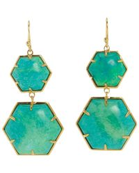 Sonya Renee Jewelry | Blue Turquoise Hexagon Double Drop Earrings | Lyst