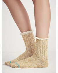 Free People | Yellow Heathered Highland Boot Sock | Lyst