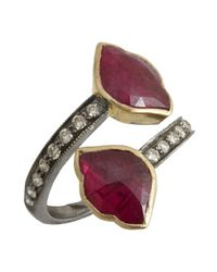Amrapali - Red 'Lotus Collection' Diamond & Ruby Wrap Ring - Lyst