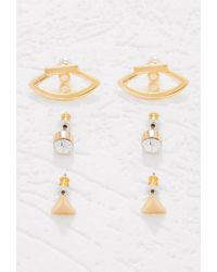 Forever 21 | Metallic Ear Jacket Rhinestone Set | Lyst