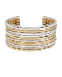 Robert Lee Morris | Metallic Two-tone Textured Cuff Bracelet | Lyst