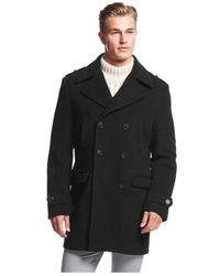 Calvin Klein | Black Montreal Solid Slim-fit Peacoat for Men | Lyst