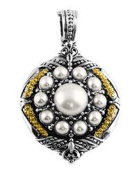 Konstantino - Black Silver & 18k Round Pearl Pendant Enhancer - Lyst