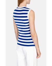 Karen Millen | Blue Fitted Stripe Vest | Lyst