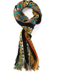 Etro | Black Geometric Patterned Scarf | Lyst