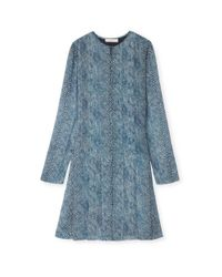 Tory Burch | Blue Pleated Silk Dress | Lyst