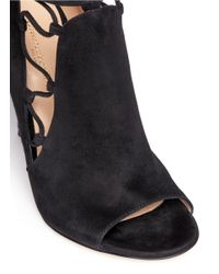 Gianvito Rossi | Black 'jennie' Cutout Lace-up Suede Sandal Boots | Lyst
