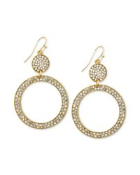 INC International Concepts | Metallic Gold-tone Crystal Pavé Circle Drop Earrings | Lyst