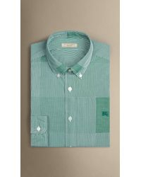 Burberry | Green Slim Fit Cotton Gingham Jacquard Shirt for Men | Lyst