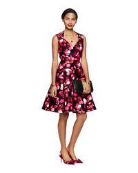 kate spade new york | Black Falling Florals V-Neck Dress | Lyst