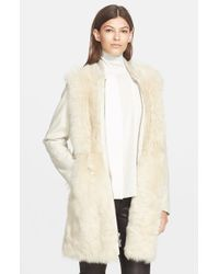 Vince - Natural Long Shearling Bomber Coat - Lyst