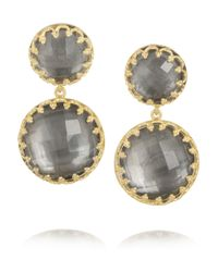 Larkspur & Hawk | Gray Olivia Small Golddipped Topaz Earrings | Lyst