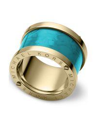 Michael Kors | Metallic Goldtone Turquoise Barrel Ring | Lyst