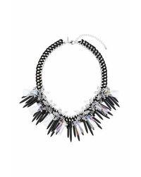 TOPSHOP - Black Flower Spike Necklace - Lyst