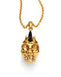 Alexander McQueen | Metallic Double Strand Crystal Flower Charm Necklace | Lyst