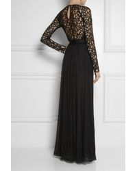 Temperley London | Black Long Lily Lace and Silkblend Chiffon Gown | Lyst
