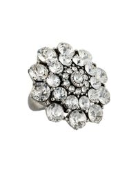 Oscar de la Renta - Metallic Round Crystal Cocktail Ring - Lyst