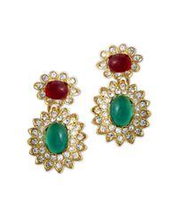 Kenneth Jay Lane | Multicolor Emerald & Ruby Drop Clip Earring | Lyst