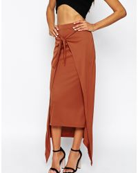 ASOS - Brown Maxi Skirt With Knot Front - Lyst
