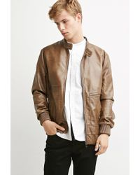 Forever 21 - Brown Faux Leather Snap-collar Jacket You've Been Added To The Waitlist for Men - Lyst